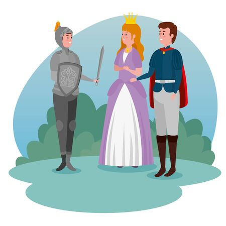 girl princess and boy prince with army and sword to tale character, vector illustration
