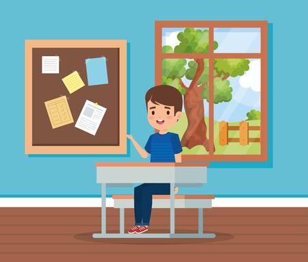 boy child in the classroom with window and desk to school education vector illustration Illusztráció