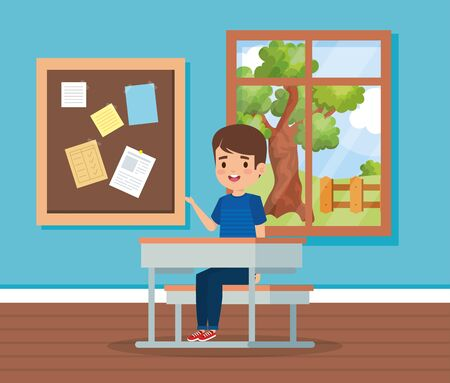 boy child in the classroom with window and desk to school education vector illustration Illustration