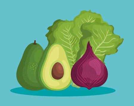 delicious avocado with healthy vegetable nutrition over blue background, vector illustration Illusztráció