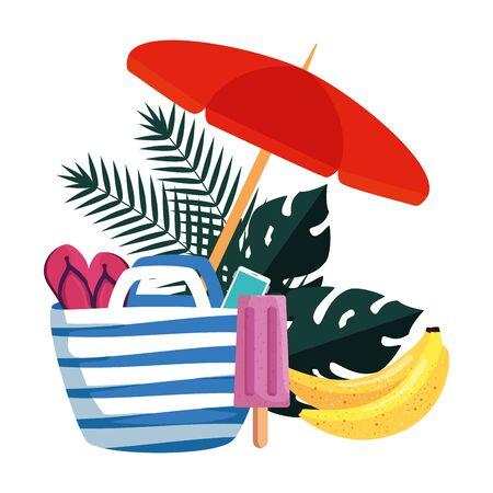 summer leafs plants with umbrella and set icons vector illustration design Ilustração