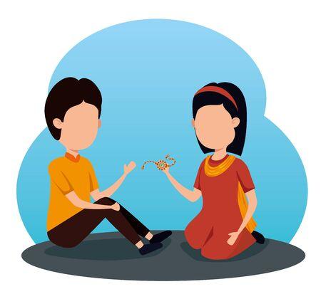 girl and boy siblings hindu event to raksha bandhan, vector illustration