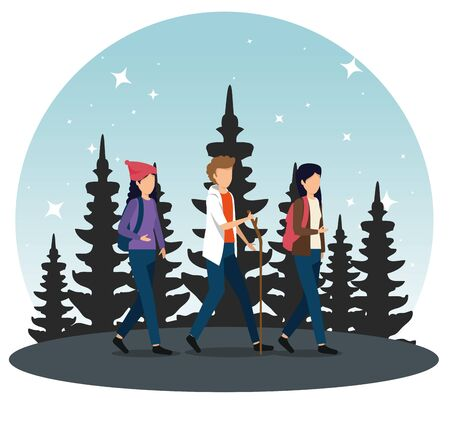 women and man walking with backpack and stick to tourism adventure vector illustration