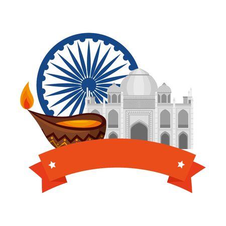 ashoka chakra indian with taj mahal vector illustration design 向量圖像