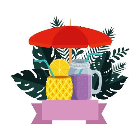 summer frame with tropical leafs and cocktails vector illustration design Ilustração