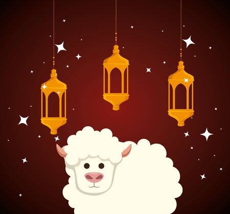 lamps hanging with sheep sacrifice and stars to eid al adha, vector illustration Ilustrace