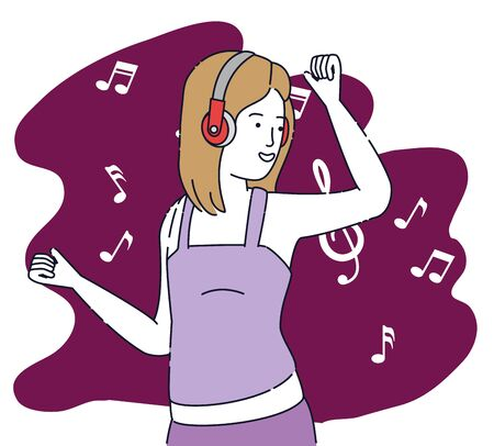 fashion girl dancing wih modern headphones to listen to music, vector illustration Stock Illustratie