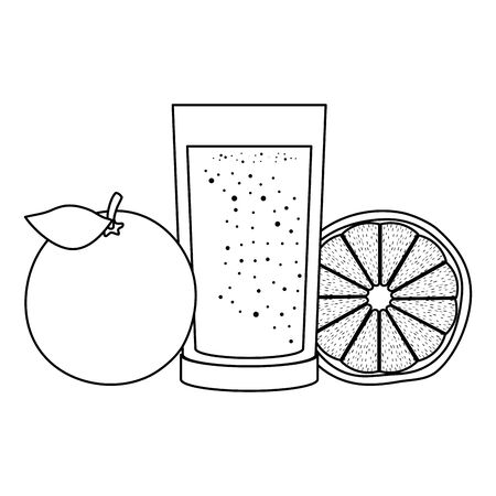 orange juice citrus fruit with glass vector illustration design