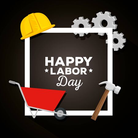 poster of happy labor day celebration with wheelbarrow and helmet, vector illustration