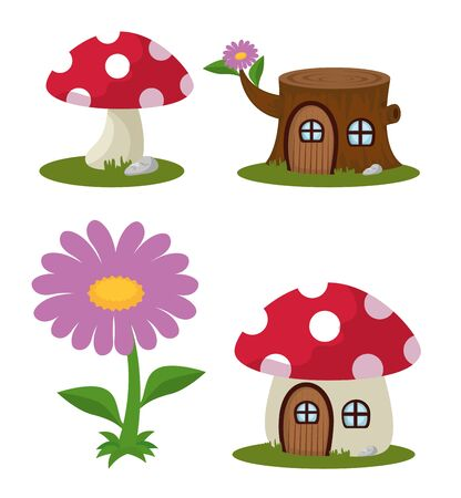 set of fungus plant with trunk tree house and flower over white background,  イラスト・ベクター素材