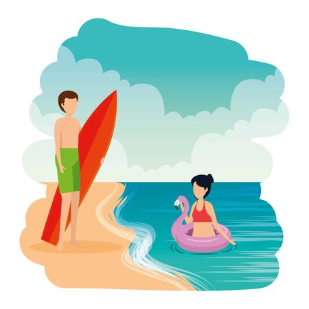 young couple with float and surfboard on the beach vector illustration design Ilustração
