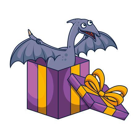 cute Pterodactyl in giftbox present vector illustration design