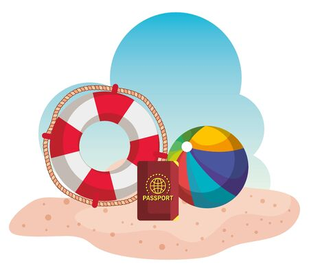 float with passport and beach ball in the sand to summer time vector illustration