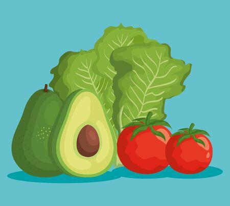 Verduras de lechuga y tomate con fruta de aguacate sobre fondo azul, ilustración vectorial
