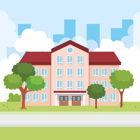 education school knowledge with windows and door around the trees and bushes plants vector illustration Ilustrace