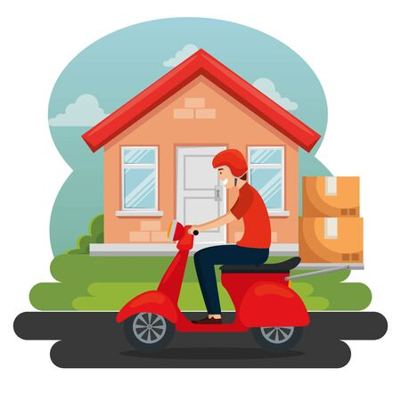 man in the motorcycle with boxes packages distribution to delivery service vector illustration Foto de archivo - 129802955