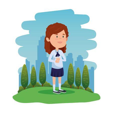 happy student girl in the field vector illustration design Standard-Bild - 129802966
