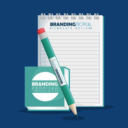 notebook with pencil to business branding product vector illustration