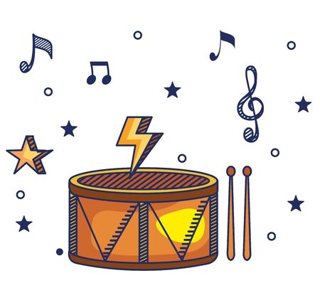 drum instrument with treble clef and quaver with beam notes to music melody vector illustration Иллюстрация