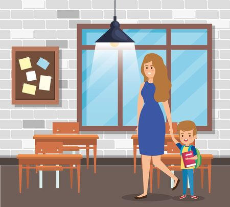 mother with boy student and note board with desks in the classroom vector illustration