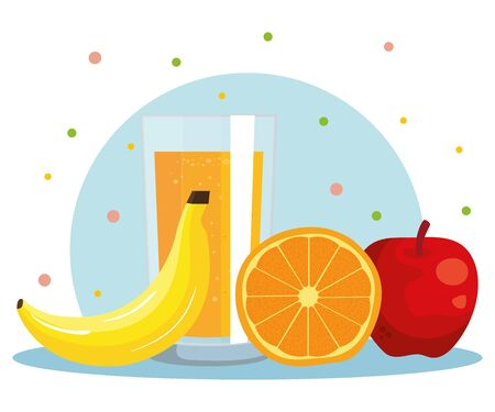 orange fruit and juice with banana and apple to healthy food vector illustration Ilustrace