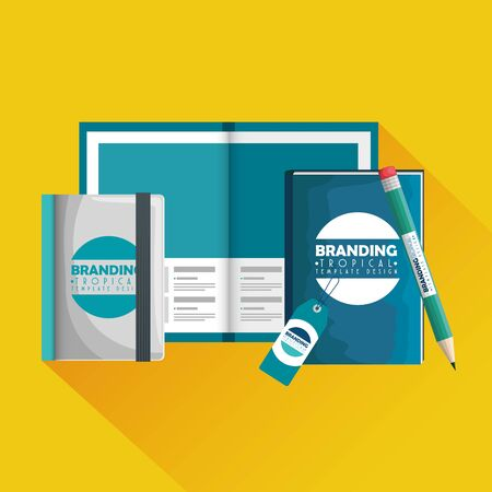 business brochure with pen and notebooks with label vector illustration