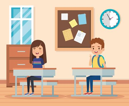 boy and girl learning in the academic classroom with desks and note board vector illustration Ilustração