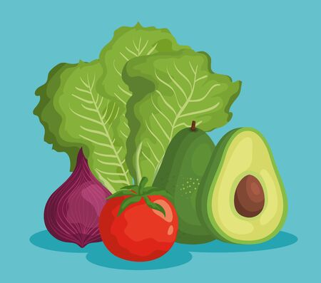 delicious avocado fruits with fresh vegetables over blue background, vector illustration