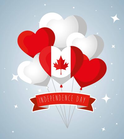 canada hearts balloons flags with leaf and ribbon decoration to happy holiday vector illustration