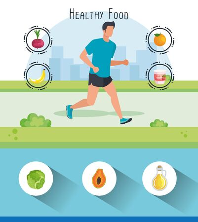 man running with lettuce and orange with olive oil to healthy food, vector illustration