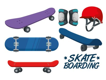 set of skateboard with helmet and knee pad over white background vector illustration