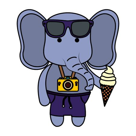 elephant with photographic camera and ice cream vector illustration design