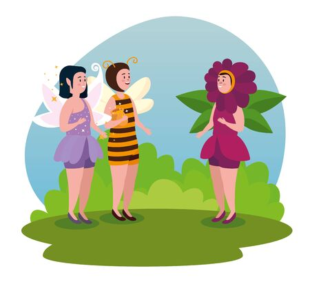 girls fairies with wings and bushes plants to tale character, vector illustration
