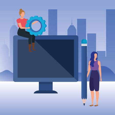 young women with desktop characters vector illustration design Illusztráció