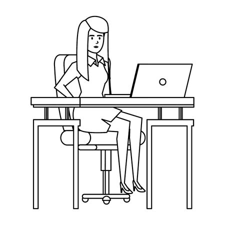 elegant businesswoman in the workplace vector illustration design