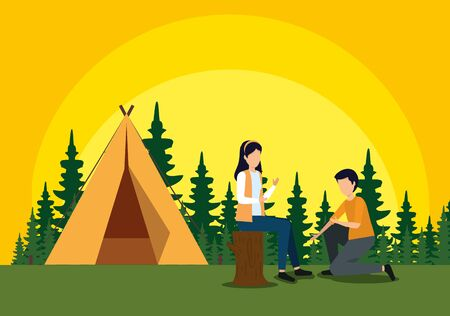 woman sitting in the tree trunk and man with camp to tourism adventure vector illustration