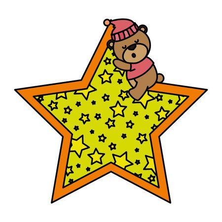 little bear teddy with hat sleeping in star vector illustration design