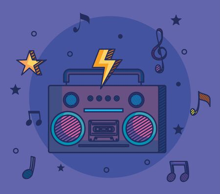 radio with treble clef and quaver with beam notes to music melody vector illustration Иллюстрация