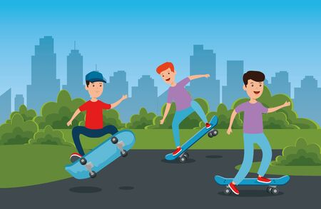 boys practing skateboard sport in the park with bushes plants vector illustration