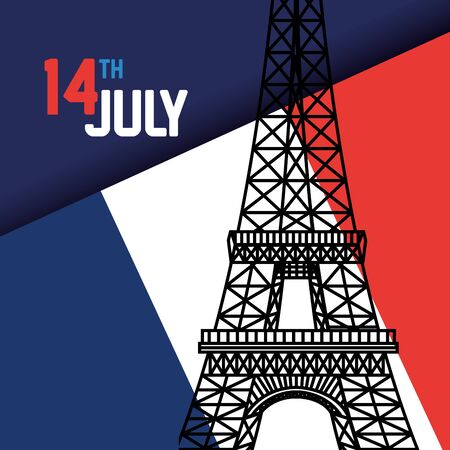 france flag with eiffel tower to holiday of bastille celebration vector illustration