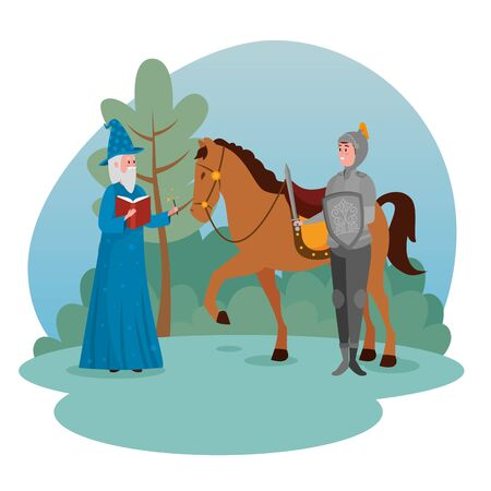 army with royal horse and wizard with book and magic wand to tale character, vector illustration