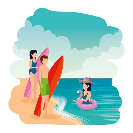 young people with swimsuit and surfboard on the beach vector illustration design