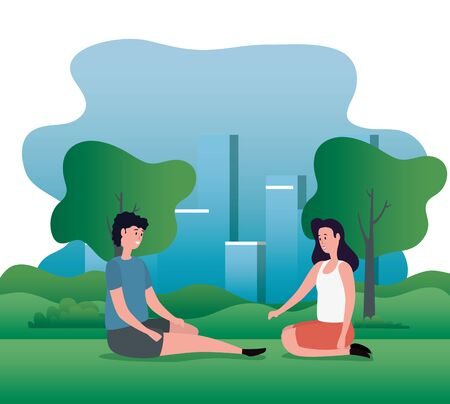 woman and man in love couple sitting with trees and mountains, vector illustration Standard-Bild - 129799088