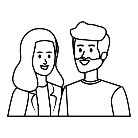 young couple avatars characters vector illustration design Ilustrace