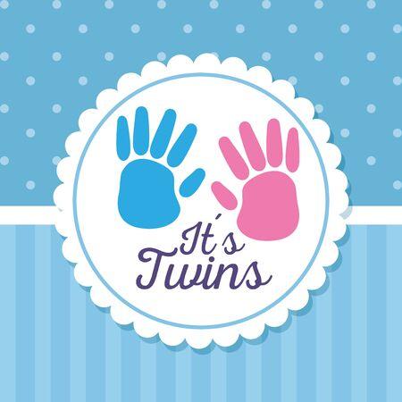 étiquette de décoration d'empreinte de main avec célébration de jumeaux à illustration vectorielle de douche de bébé