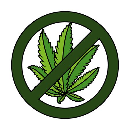 cannabis plant leafs with denied symbol vector illustration design