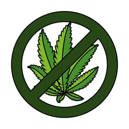 cannabis plant leafs with denied symbol vector illustration design