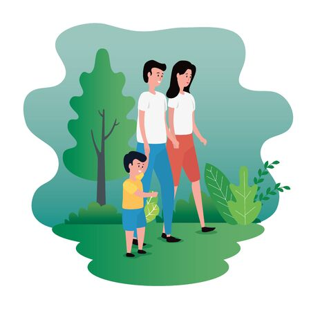 woman and man couple with their son and hairstyle with tree and plants, vector illustration