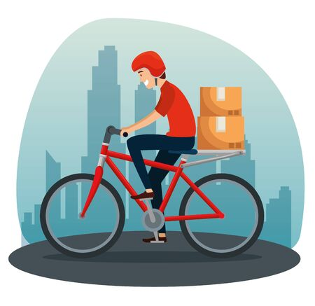 delivery man in the bicycle with boxes packages to distribution service vector illustration Ilustrace