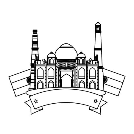 taj mahal indian building with flags vector illustration design Иллюстрация
